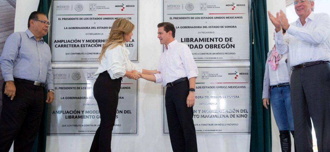 Inauguran Presidente EPN y Gobernadora nuevo libramiento de Obregón