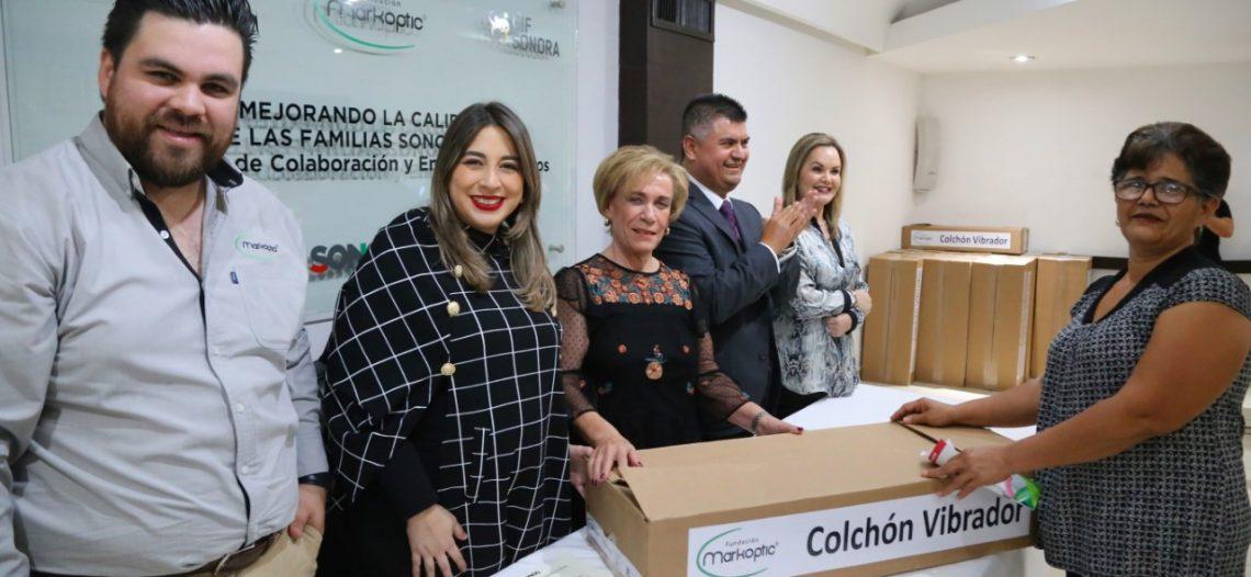 Entregan DIF Sonora y Fundación Markoptic colchones vibradores