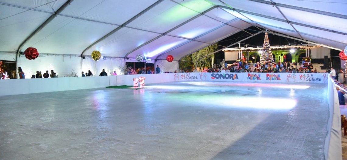 Inaugura Gobernadora primera pista de patinaje sobre hielo en Parque Infantil