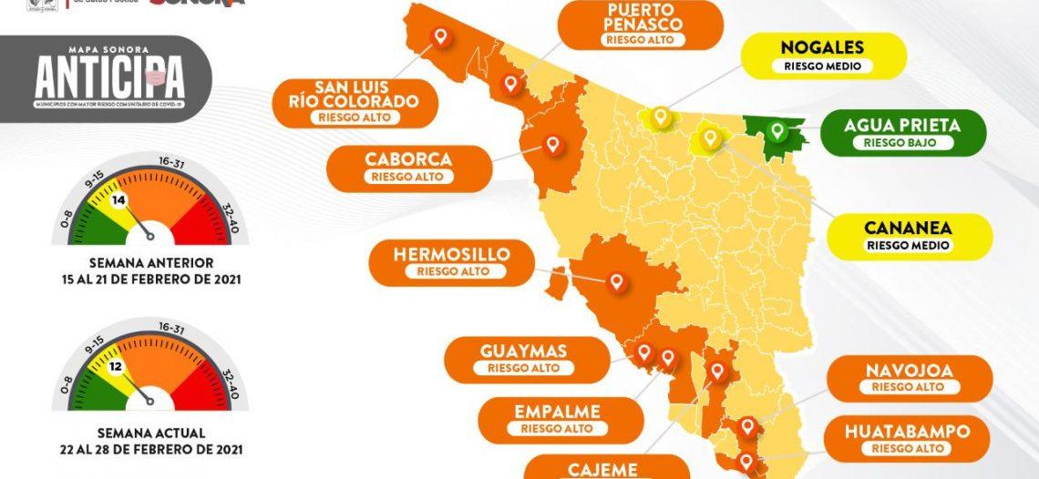 Municipios dan resultados contra COVID-19 en Mapa Sonora Anticipa: Salud Sonora