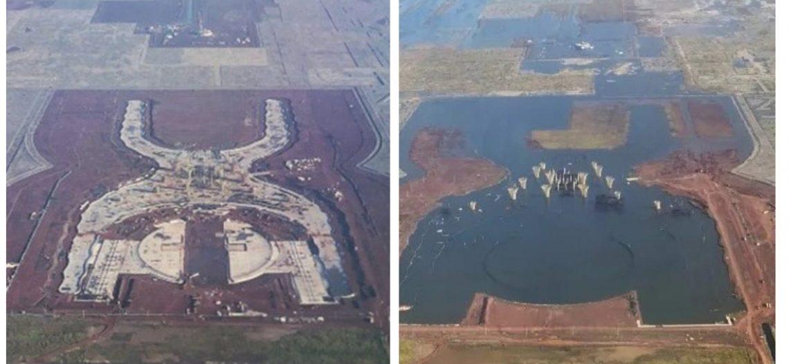 Se inunda el terreno donde construían el nuevo aeropuerto de la CDMX; se confrontan usuarios de redes