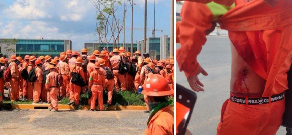 Se enfrentan en Refinería de Dos Bocas Trabajadores y antimotines